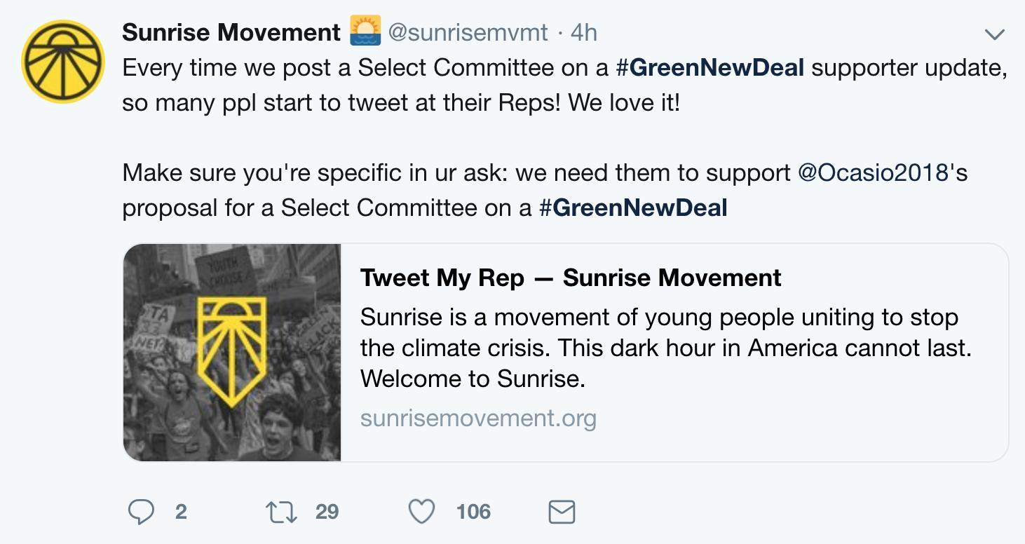 sunrise movement tweet my rep action