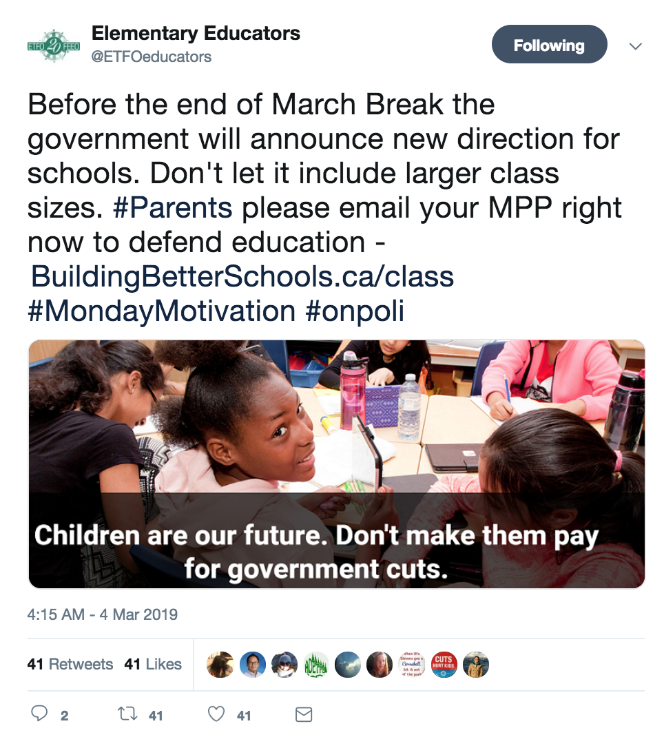 tweet from elementary educators protecting small class sizes