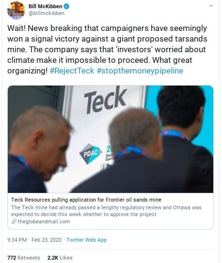 screenshot of a tweet from bill mickibben about rejectteck's success