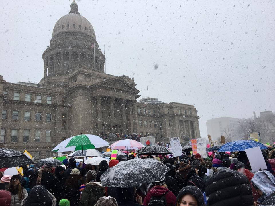 protesters in the snow