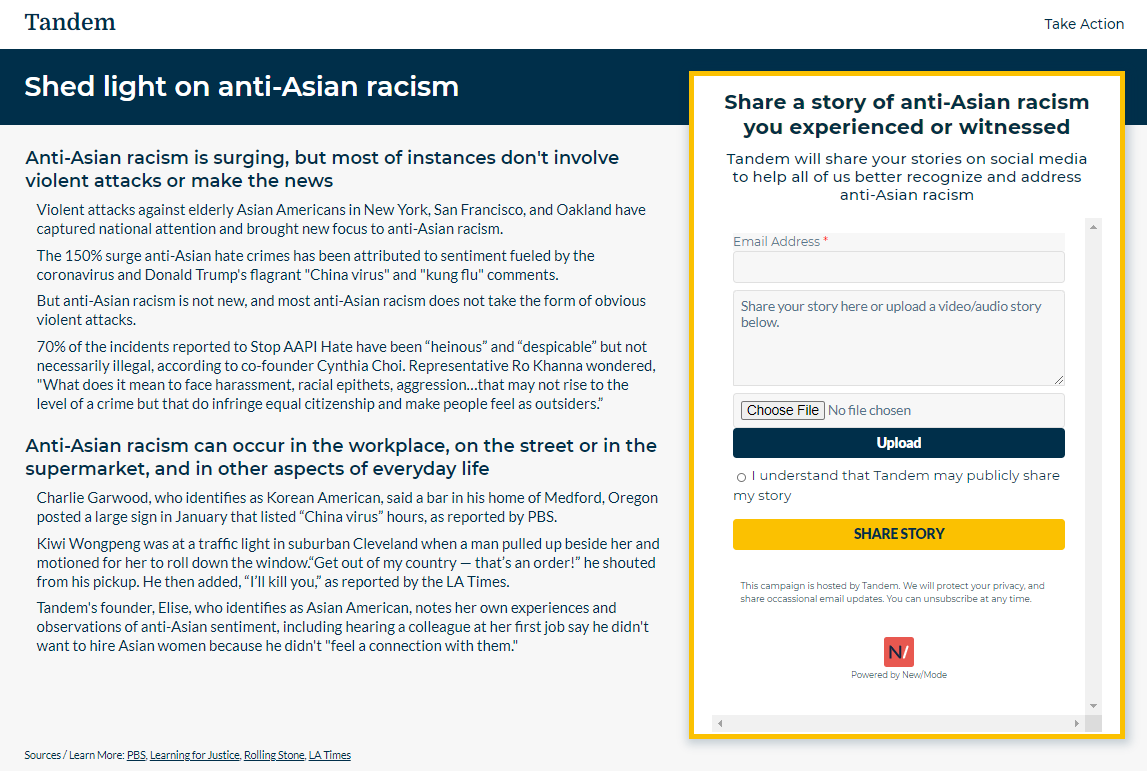 screenshot of tandem's action page