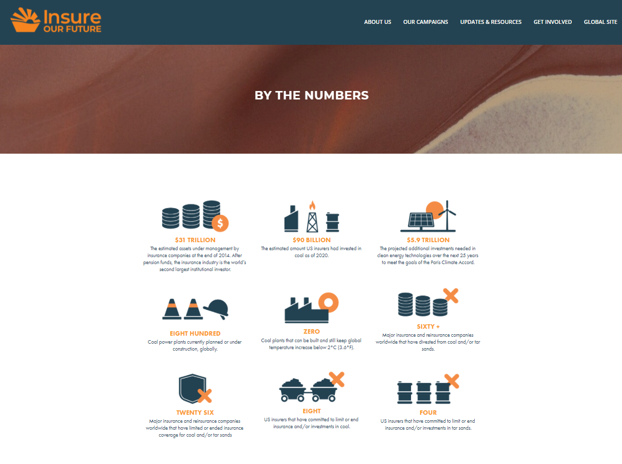 Screenshot of Insure Our Future landing page